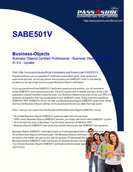 SABE501V Business-<strong>Objects</strong> Business <strong>Objects</strong> Certified Professional - Business <strong>Objects</strong> Enterprise XI 3.0 - Update Visit: