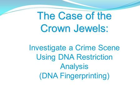 The Case of the Crown Jewels: Investigate a Crime Scene Using DNA Restriction <strong>Analysis</strong> (DNA Fingerprinting)