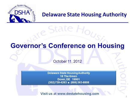 Delaware State Housing Authority FY '15 Joint Finance