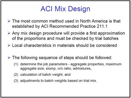 Concrete mix design (as per aci code) with excel sheets and.