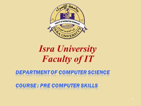 Isra University Faculty of IT 1. Before we start... Please turn off your mobile phone 2.