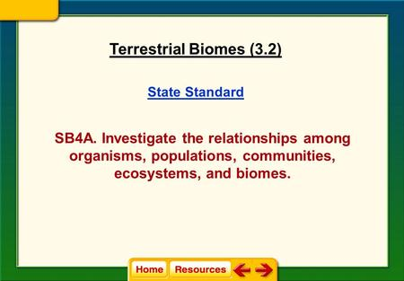 State Standard SB4A. Investigate the relationships among organisms, populations, communities, ecosystems, and biomes. Terrestrial Biomes (3.2)