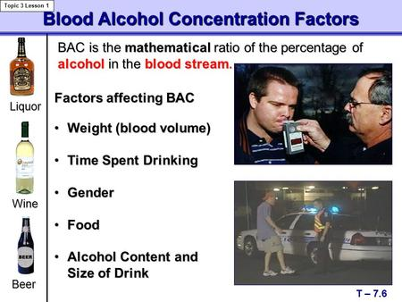Blood Alcohol Concentration Factors T – 7.6 Topic 3 Lesson 1 Liquor Beer Weight (blood volume)Weight (blood volume) Time Spent DrinkingTime Spent Drinking.