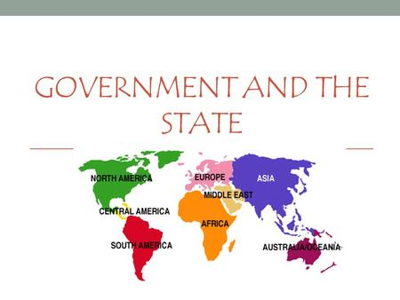 GOVERNMENT AND THE STATE. Political Terms State: independent unit that occupies a specific territory and has full control of its internal/external affairs.