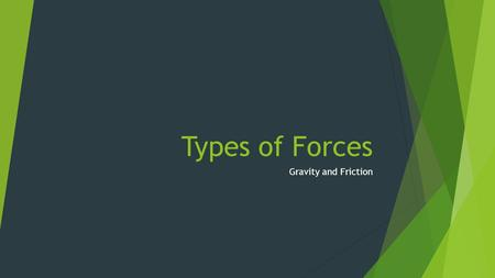 Types of Forces Gravity and Friction. Forces!!!!! PUSH Or A Pull.