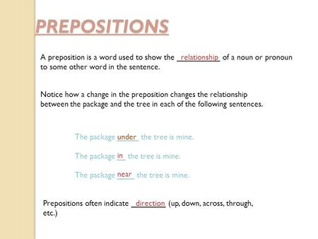 PREPOSITIONS A preposition is a word used to show the __________ of a noun or pronoun to some other word in the sentence. relationship Notice how a change.