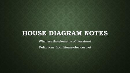 HOUSE DIAGRAM NOTES What are the elements of literature? Definitions from literarydevices.net.