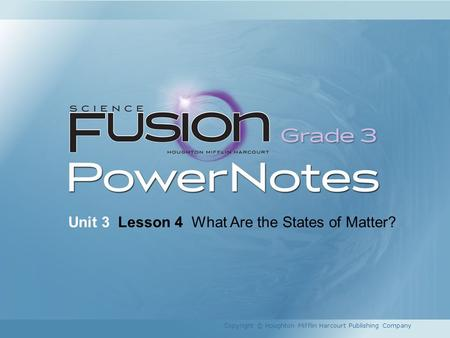 Unit 3 Lesson 4 What Are the States of Matter? Copyright © Houghton Mifflin Harcourt Publishing Company.