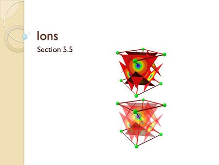 Ions Section 5.5. IONS An ion is simply a charged atom. Ions are formed as atoms lose or gain electrons to achieve stability. To figure out how ions form,