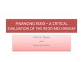 FINANCING REDD – A CRITICAL EVALUATION OF THE REDD MECHANISM Patricia Blazey and Hope Ashiabor Patricia Blazey and Hope Ashiabor 1.