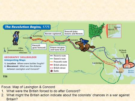 Focus: Map of Lexington & Concord 1.What were the British forced to do after Concord? 2.What might the British action indicate about the colonists' chances.