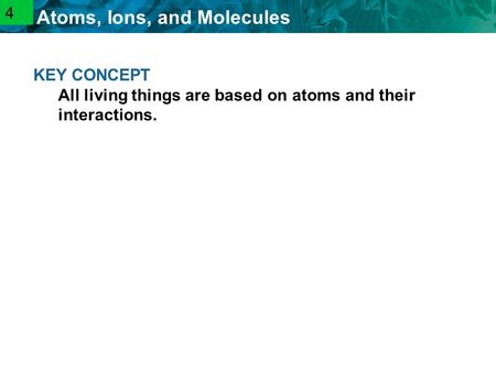 2.1 Atoms, Ions, and Molecules KEY CONCEPT All living things are based on atoms and their interactions. 4.