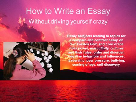 English Essay Questions How To Write An Essay Without Driving Yourself Crazy Essay Subjects Leading  To Topics For A Synthesis Essay also Synthesis Essay Steps To Writing A Literary Analysis Essay  Ppt Download Sample Business Essay
