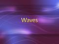 Wave – any disturbance that transmits energy through matter or space Medium – a substance through which a wave can travel. Can be a solid, liquid, or.
