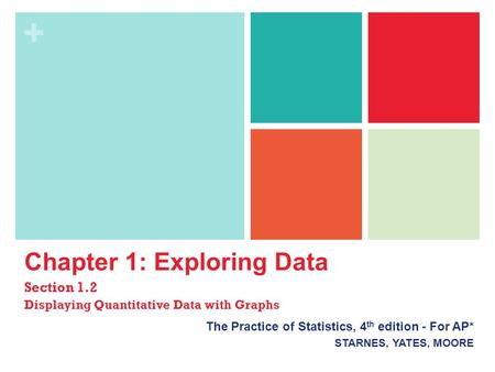 + Chapter 1: Exploring Data Section 1.2 Displaying Quantitative Data with Graphs The Practice of Statistics, 4 th edition - For AP* STARNES, YATES, MOORE.