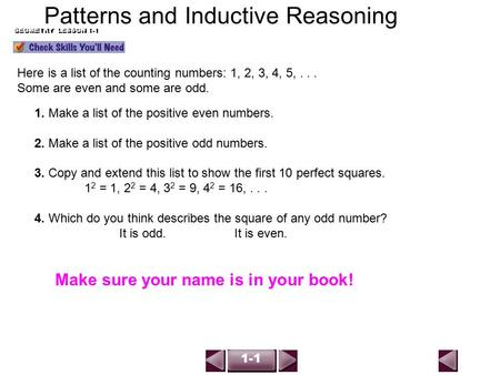 Geometry Notes 1 1 Patterns And Inductive Reasoning Ppt