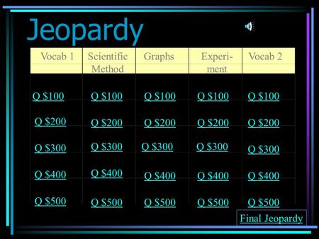 Jeopardy Vocab 1Scientific Method GraphsExperi- ment Vocab 2 Q $100 Q $200 Q $300 Q $400 Q $500 Q $100 Q $200 Q $300 Q $400 Q $500 Final Jeopardy.