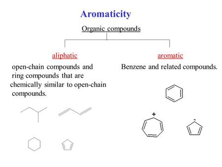Aromaticity Organic compounds aliphaticaromatic Benzene and related compounds. open-chain compounds and ring compounds that are chemically similar to open-chain.