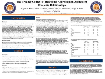 The Broader Context of Relational Aggression in Adolescent Romantic Relationships Megan M. Schad, David E. Szwedo, Amanda Hare, Jill Antonishak, Joseph.