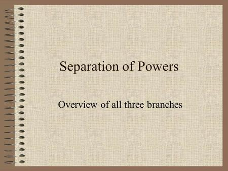 Separation of Powers Overview of all three branches.