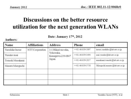 Doc.: IEEE 802.11-12/0068r0 Submission Discussions on the better resource utilization for the next generation WLANs January 2012 Yasuhiko Inoue (NTT),