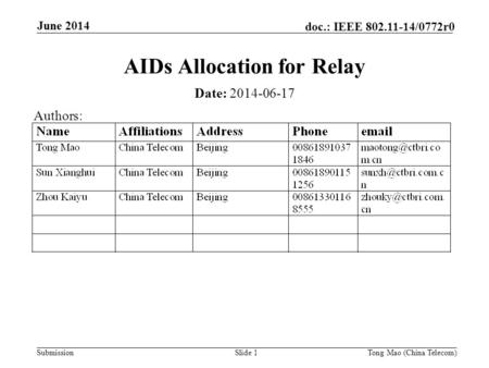 Submission doc.: IEEE 802.11-14/0772r0 June 2014 Tong Mao (China Telecom)Slide 1 AIDs Allocation for Relay Date: 2014-06-17 Authors: