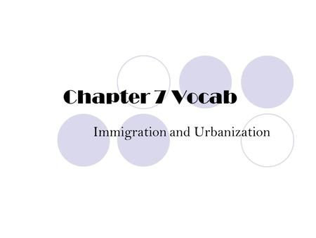Chapter 7 Vocab Immigration and Urbanization. New Immigrants People who immigrated to the US beginning in the 1870s. Typically from S. and E. Europe,