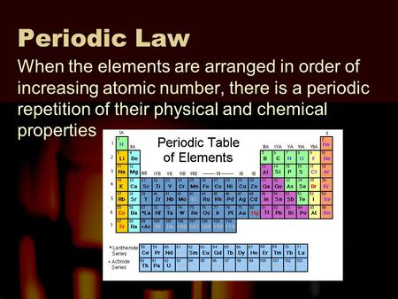 Periodic Trends The Physical And Chemical Properties Of The Elements