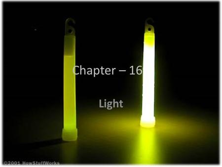 Chapter – 16 Light. Electromagnetic radiation – energy carried through space in the form of waves.