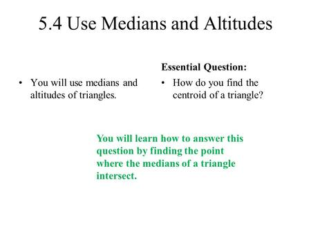 Bell Problem Find The Value Of X Use Medians And Altitudes Standards