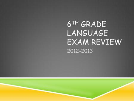 6 TH GRADE LANGUAGE EXAM REVIEW 2012-2013. PARTS OF SPEECH.