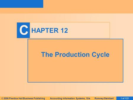 © 2006 Prentice Hall Business Publishing Accounting Information Systems, 10/e Romney/Steinbart1 of 122 C HAPTER 12 The <strong>Production</strong> Cycle.