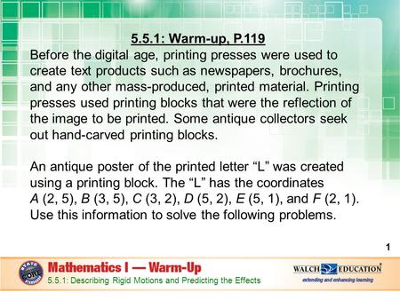 5 5 1: Warm-up, P 119 Before the digital age, printing