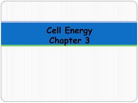 Cell Energy Chapter 3. Cells need energy in order to work properly Plant cells get energy through photosynthesis, which happens in the chloroplast Animal.