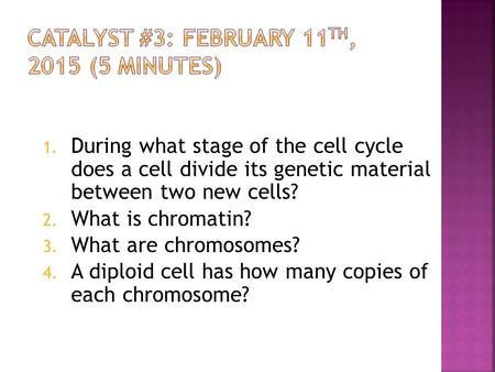 1. During what stage of the cell cycle does a cell divide its genetic material between two new cells? 2. What is <strong>chromatin</strong>? 3. What are <strong>chromosomes</strong>? 4.