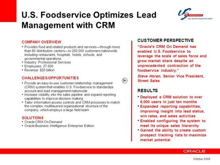 U S  Foodservice Optimizes Lead Management with CRM CUSTOMER