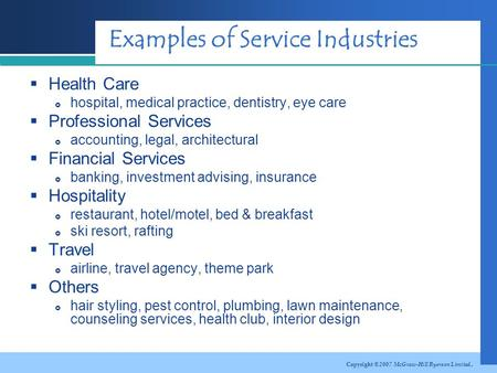 Chapter 2 The Nature of Services  Learning Objectives