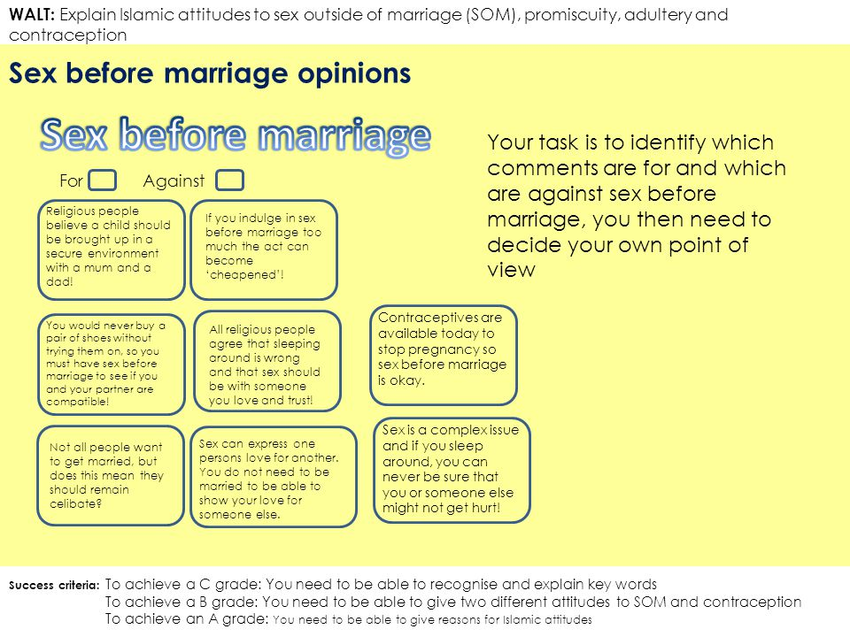 Before marriage right is sex The moral