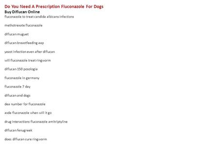 Do You Need A Prescription For Fluconazole In Us