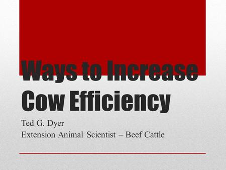 Ways to Increase Cow Efficiency Ted G. Dyer Extension Animal Scientist – Beef Cattle.