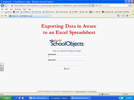 Exporting Data in Aware to an Excel Spreadsheet.