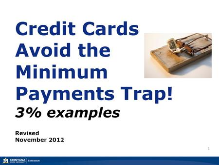1 Credit Cards Avoid the Minimum Payments Trap! 3% examples Revised November 2012.