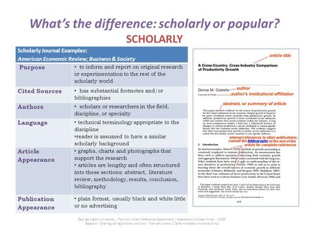 Whats the difference: scholarly or popular? SCHOLARLY Scholarly Journal Examples: American Economic Review; Business & Society Purpose to inform and report.