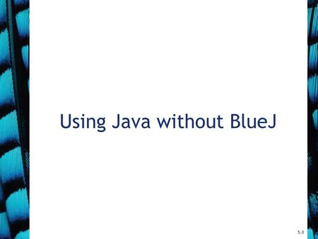 Using Java without BlueJ 5.0. 2 BlueJ projects A BlueJ project is stored in a directory on disk. A BlueJ package is stored in several different files.