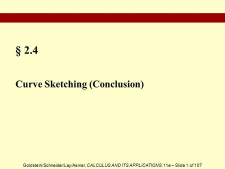§ 2.4 Curve Sketching (Conclusion).