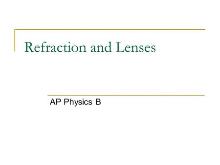 Refraction and Lenses AP Physics B.