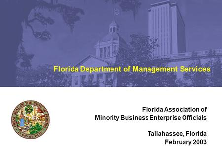 Florida Association of Minority Business Enterprise Officials Tallahassee, Florida February 2003 Florida Department of Management Services.