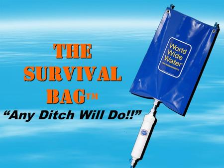 THE SURVIVAL BAG THE SURVIVAL BAG Any Ditch Will Do!!