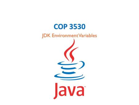 COP 3530 JDK Environment Variables. COP 3530 JDK Environment Variables Environment Variables Environment variables are a set of dynamic values that can.