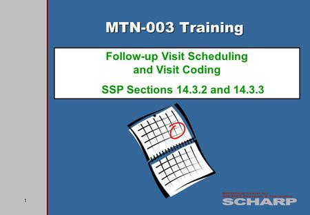 1 MTN-003 Training Follow-up Visit Scheduling and Visit Coding SSP Sections 14.3.2 and 14.3.3.